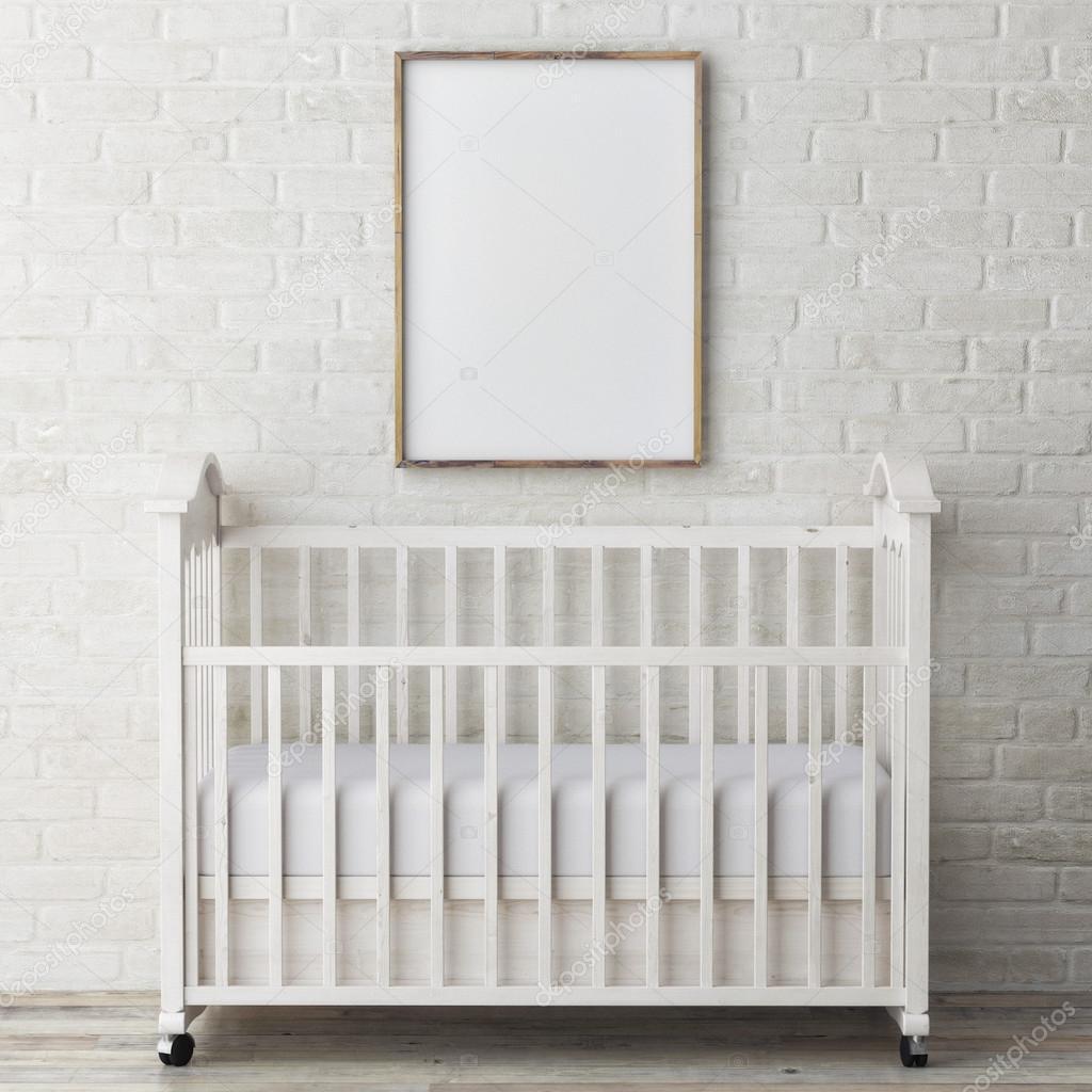 Beb Quarto Simulado Poster Na Parede Ilustra O 3d Stock  ~ Quarto De Bebe Parede Com Poster Decoração Quarto