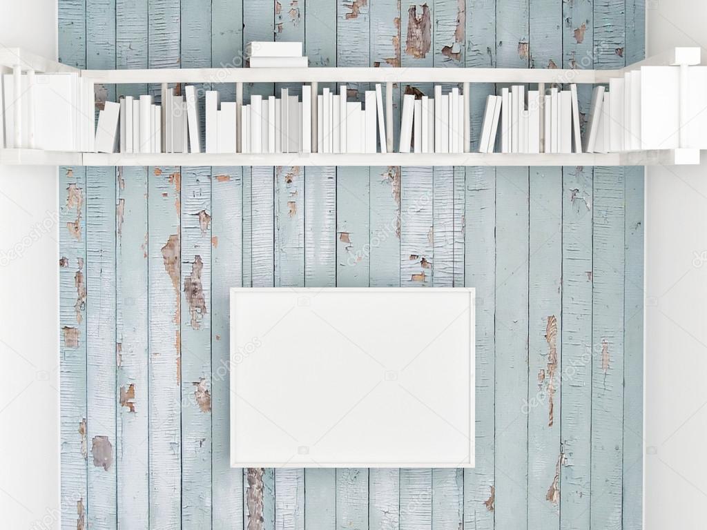 Mock Up Poster Bookshelf On White Wooden Wall 3d Illustration Stock Photo
