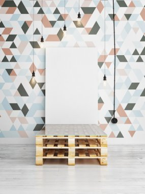 Poster mock up on triangle pattern wall, 3d render