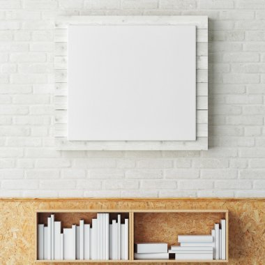 Mock up poster with palette on white brick wall, 3d render
