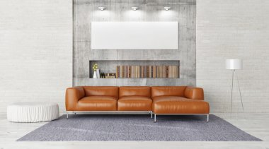 Modern sofa, mock up poster in contemporary living room, 3d render