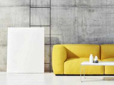 Close up mock up poster with yellow sofa, 3d render