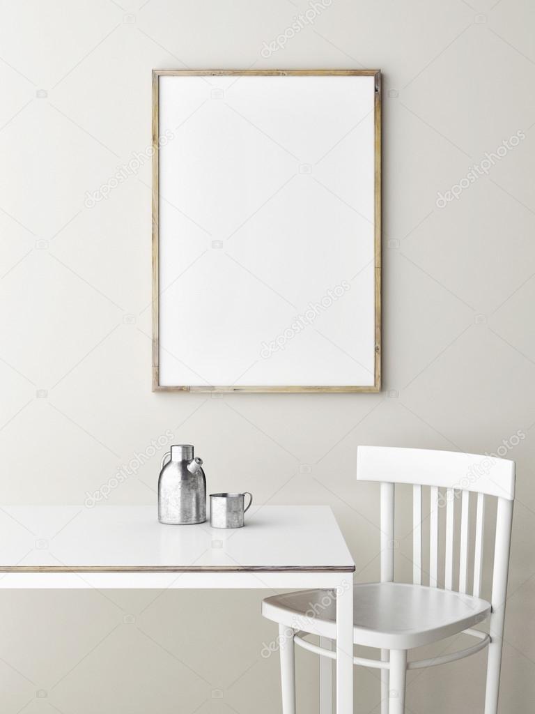 Mock up poster, minimalism design, 3d render