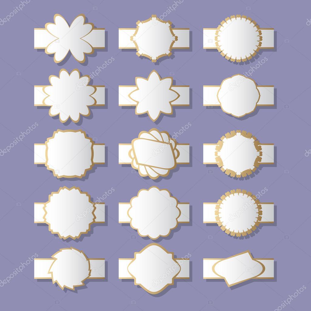Satz von dekorativen Rahmen, Etiketten, Grenzen. Elemente für die ...