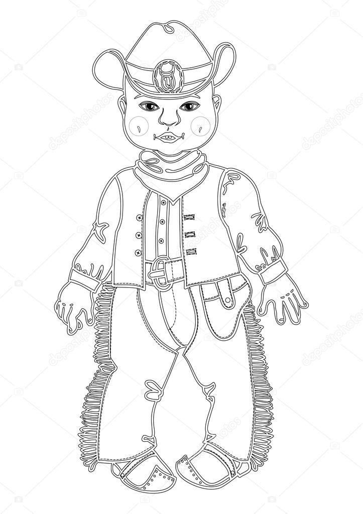 Bebé del vaquero. Un niño vestido como un croquis de vaquero para ...