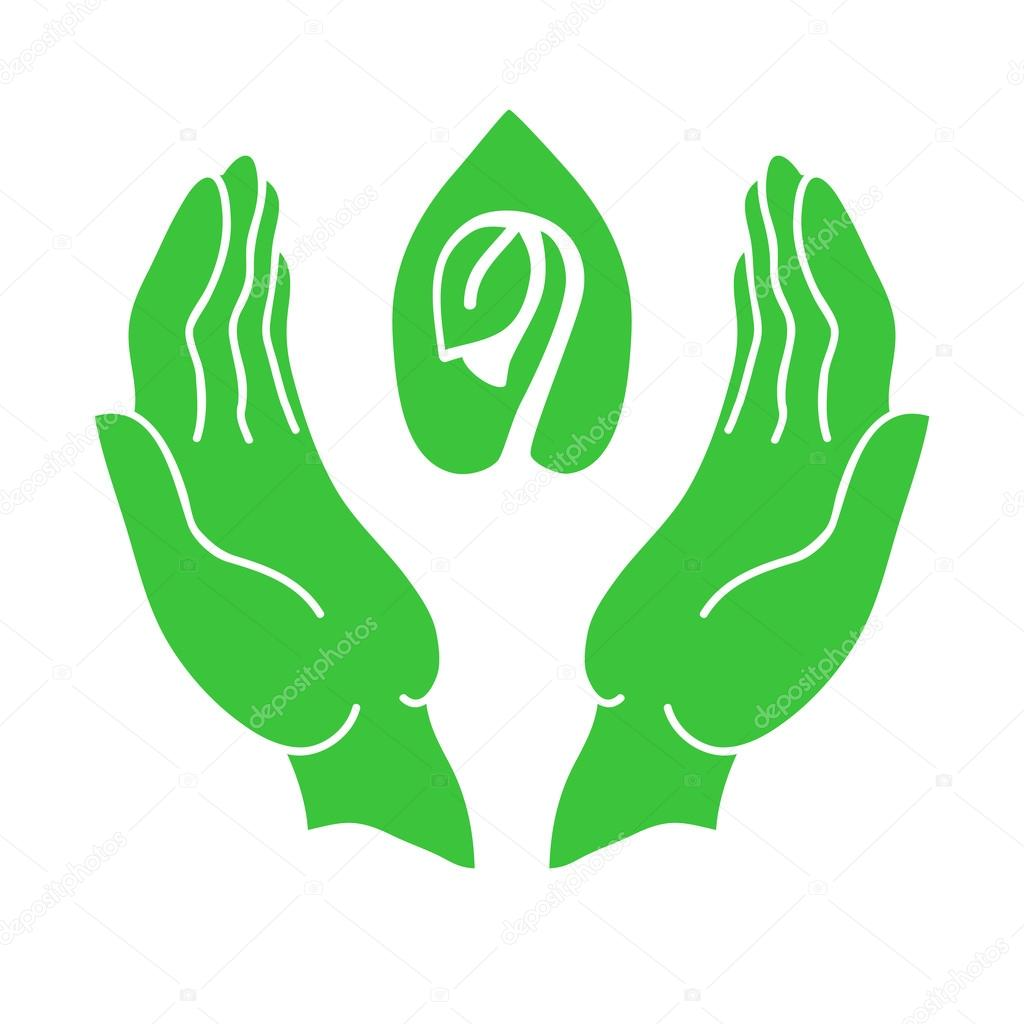 Hands and sprout green icon. Eco-design, environmental protection concept.