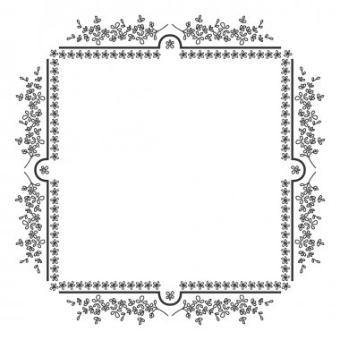 Black and white floral motif square, photo frame.