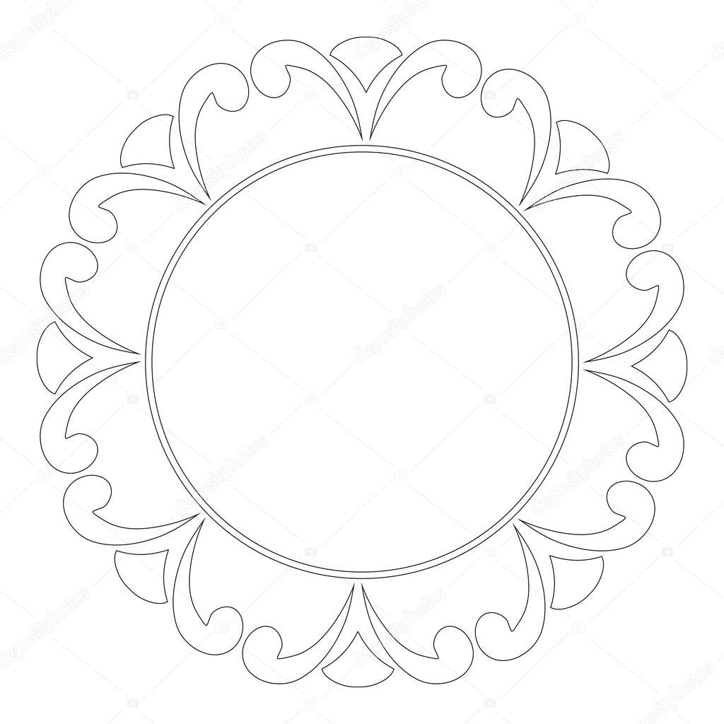 Round Outline Frame With Swirls Decorative Element For Design Of