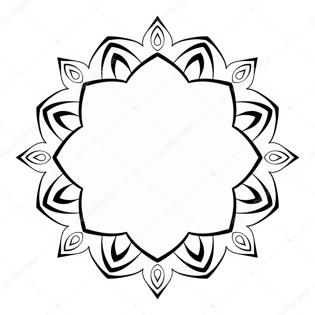 Mandala, round black and white frame. Decorative element for design ...