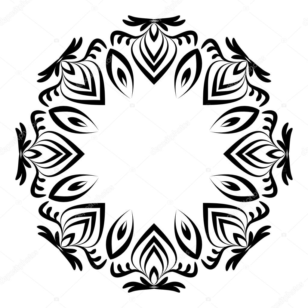 Runde schwarze und weiße Rahmen mit Verzierungen. Dekoratives ...