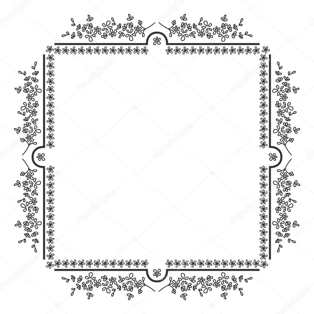Marco de foto cuadrado, blanco y negro motivo floral — Vector de ...