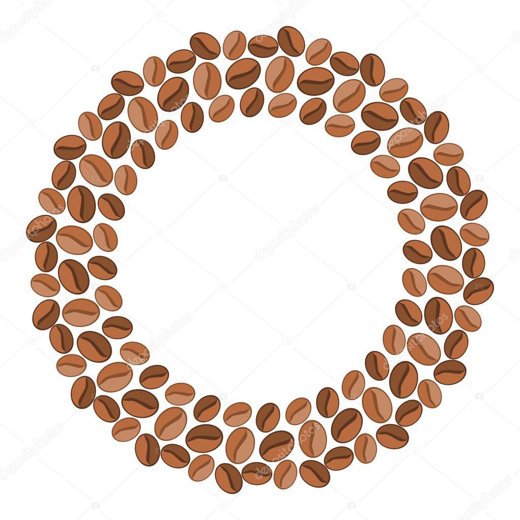 Marco ancho redondo hecho de granos de café — Archivo Imágenes ...