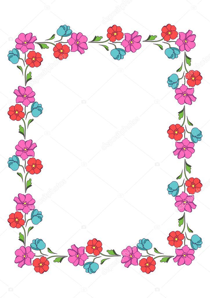 Colorful rectangular motif of flowers, photo frame.