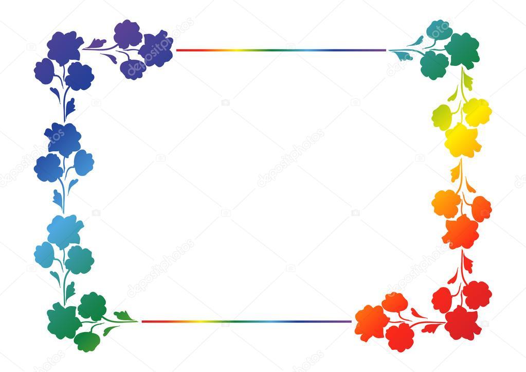 Adorno rectangular arco iris de flores, marco de fotos — Vector de ...