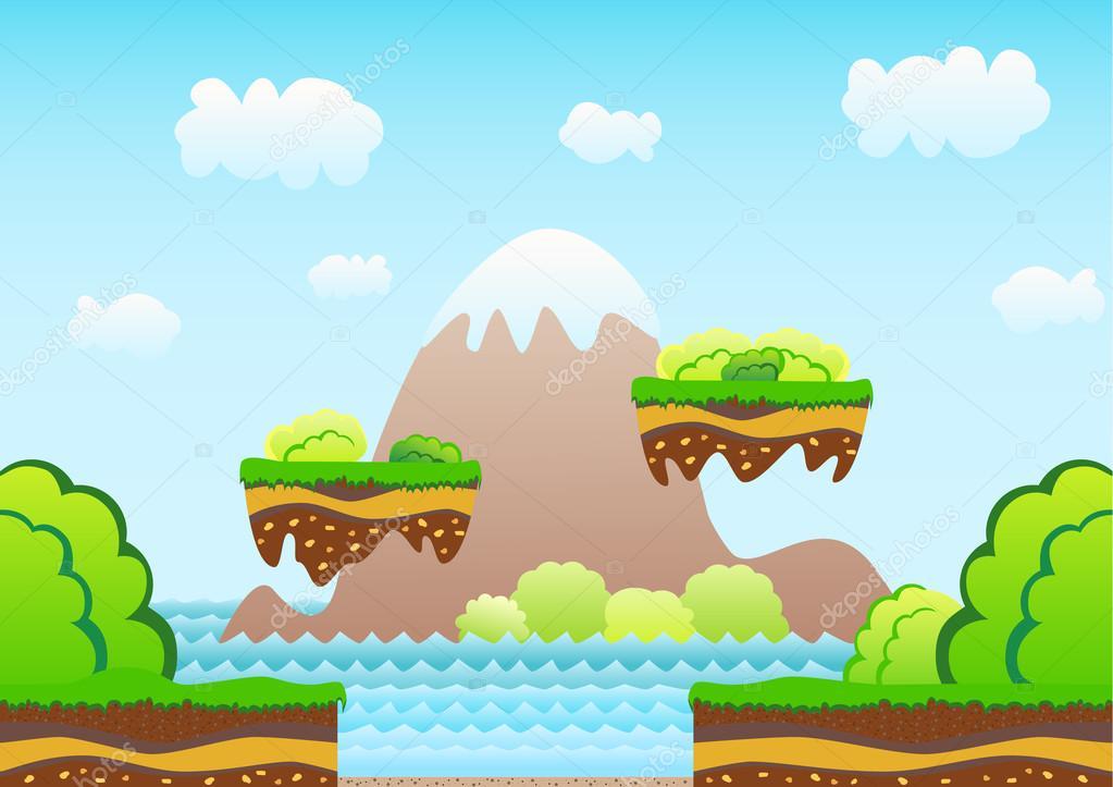 seamless game background cartoon landscape mountains sea bushes