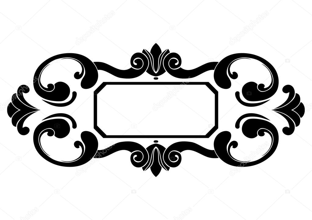 Rectangular black and white frame with curls Baroque. Decorative ...