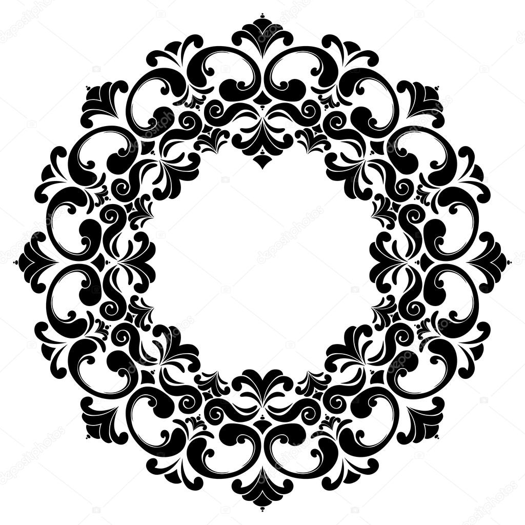 Round black and white frame with curls Baroque. Decorative element ...