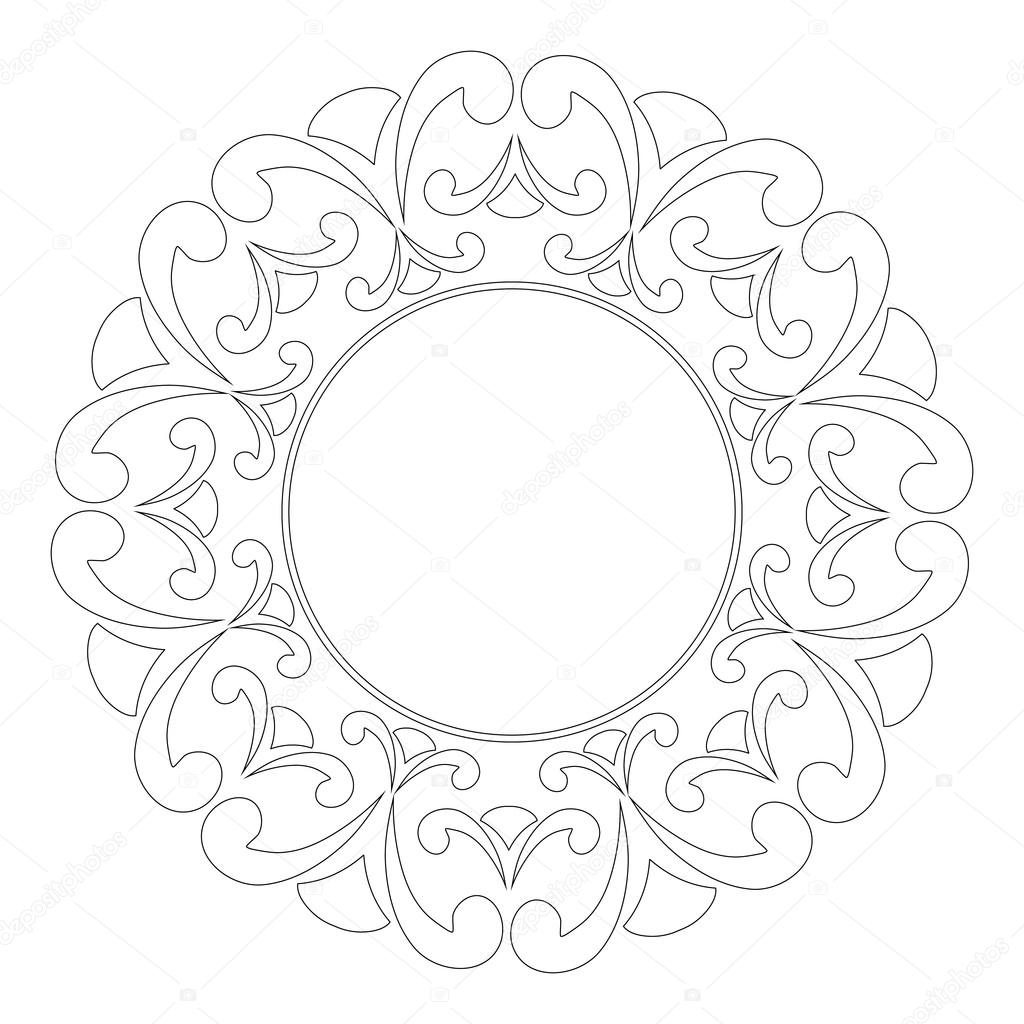 Round outline frame with swirls decorative element for design of round outline frame with swirls decorative element for design of books printed materials invitation for a wedding or a celebration for albums stopboris Gallery