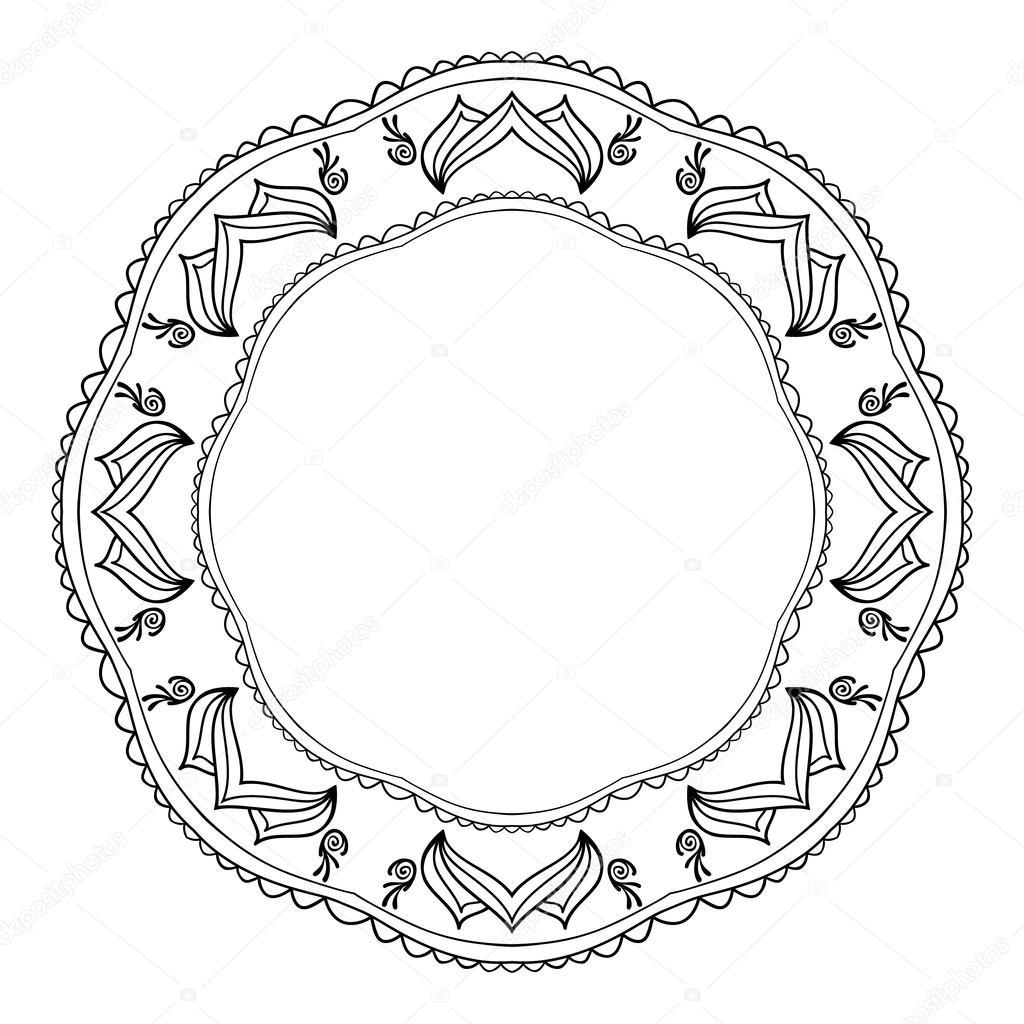 Rund Schwarz-Weiß-Rahmen im orientalischen Stil mit Elementen des ...