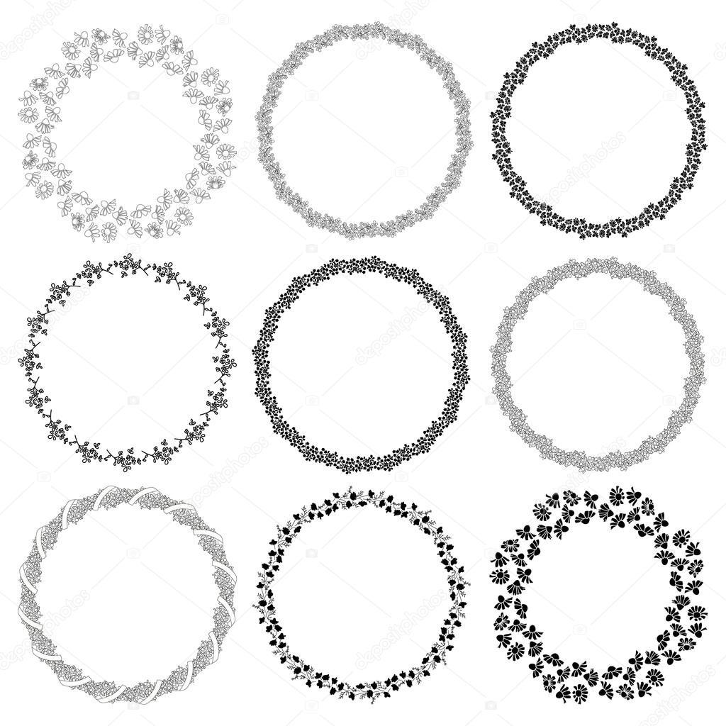 Set Di Cornici Rotonde Con Fiori Elementi Decorativi Per Il Disegno