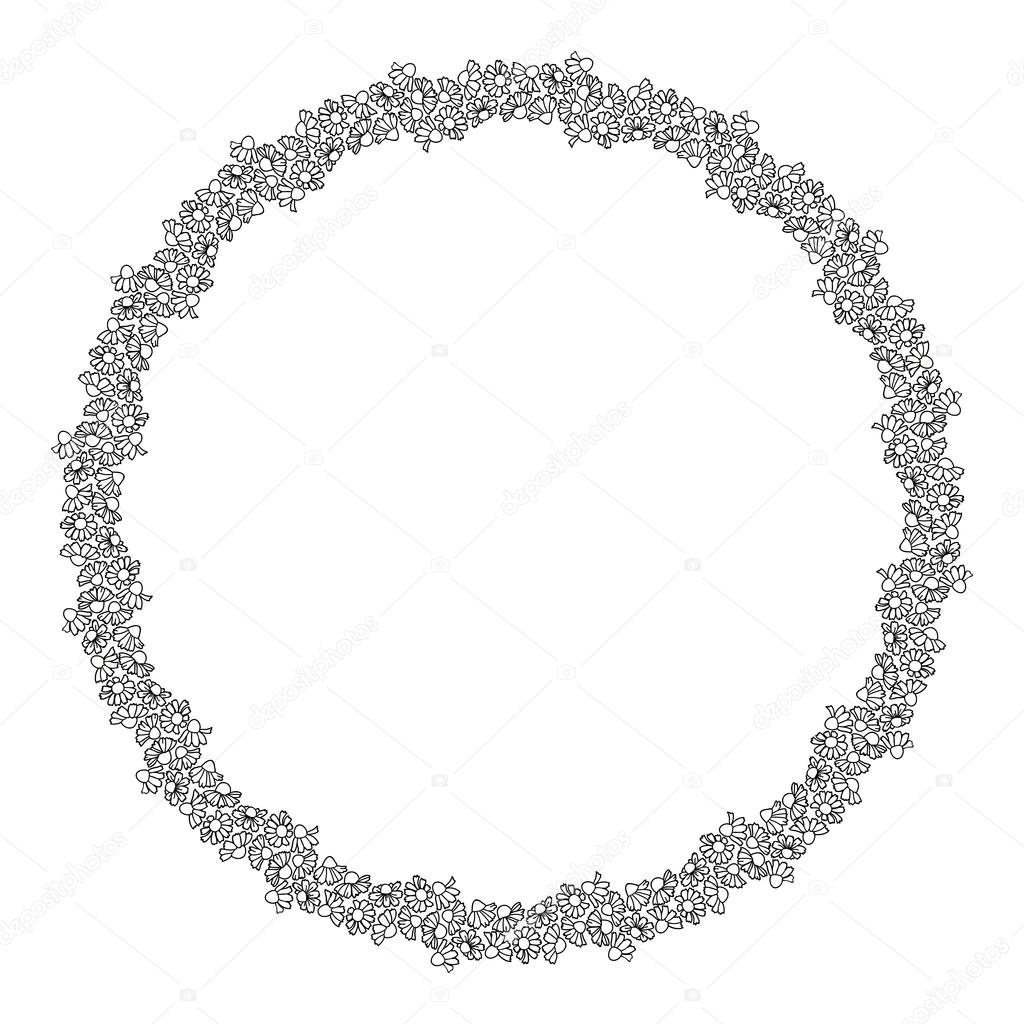 Chamomiles field. Round frame of flowers. Outline drawing.