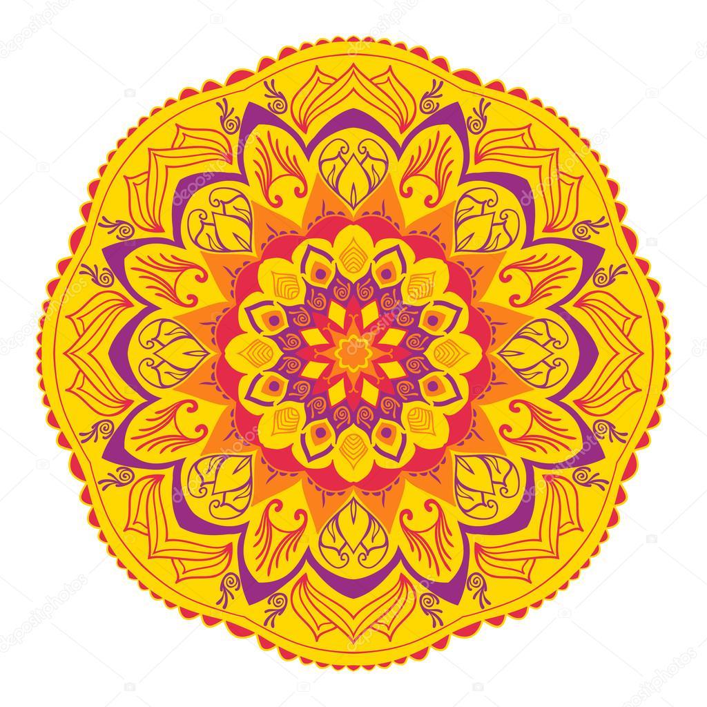Mandala de los elementos indios tradicionales colores - Amarillo naranja ...