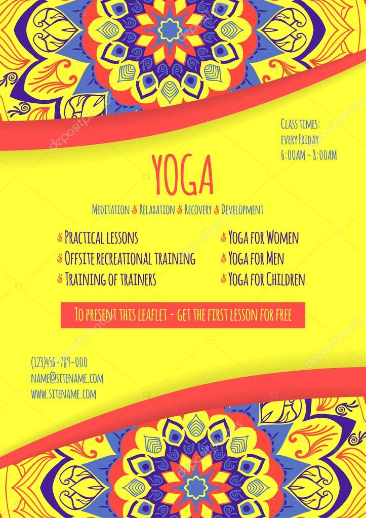 Plantilla universal del folleto de yoga. Estudio de yoga flyer ...