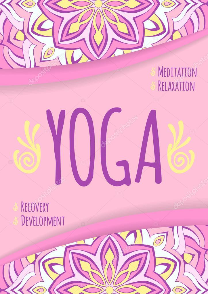 Plantilla universal del folleto de yoga. Folleto publicitario ...