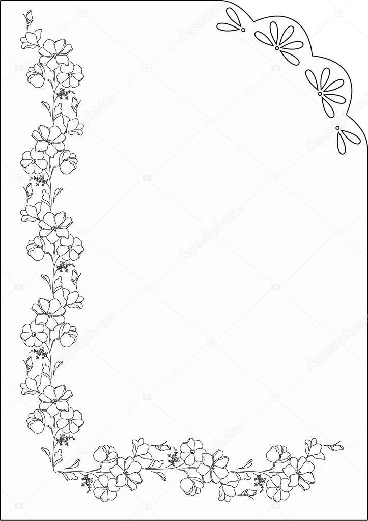 Dikdörtgen çerçeve çiçek motifleri ile. Anahat siyah beyaz vintage çerçeve — Stok Vektör