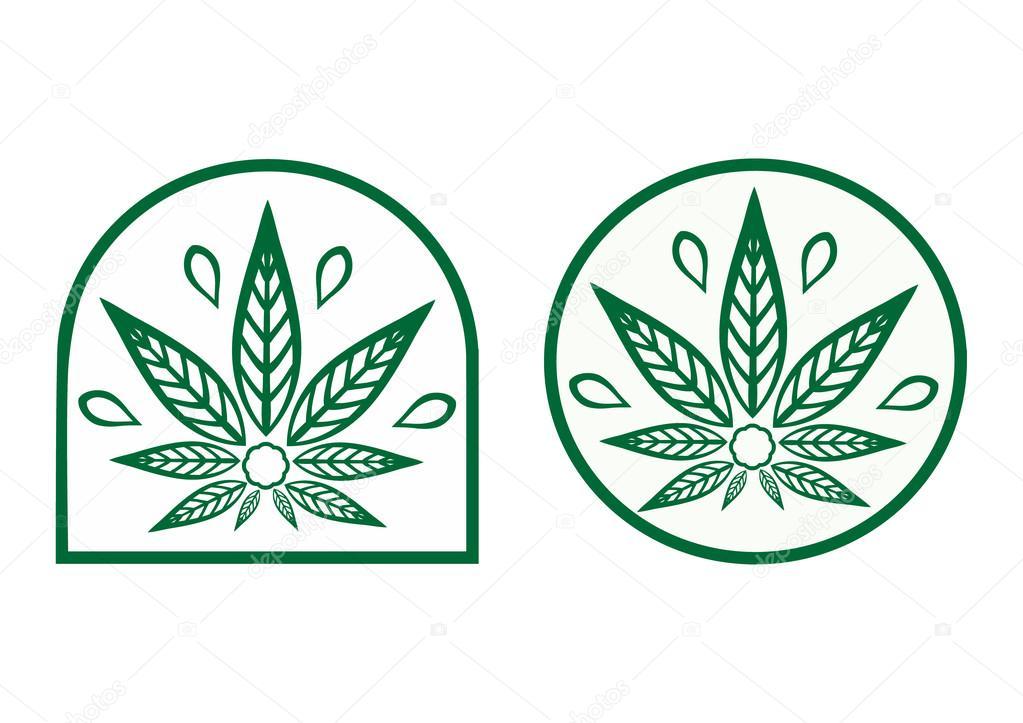 Cannabis logo. Hemp is a simple monochrome icons.