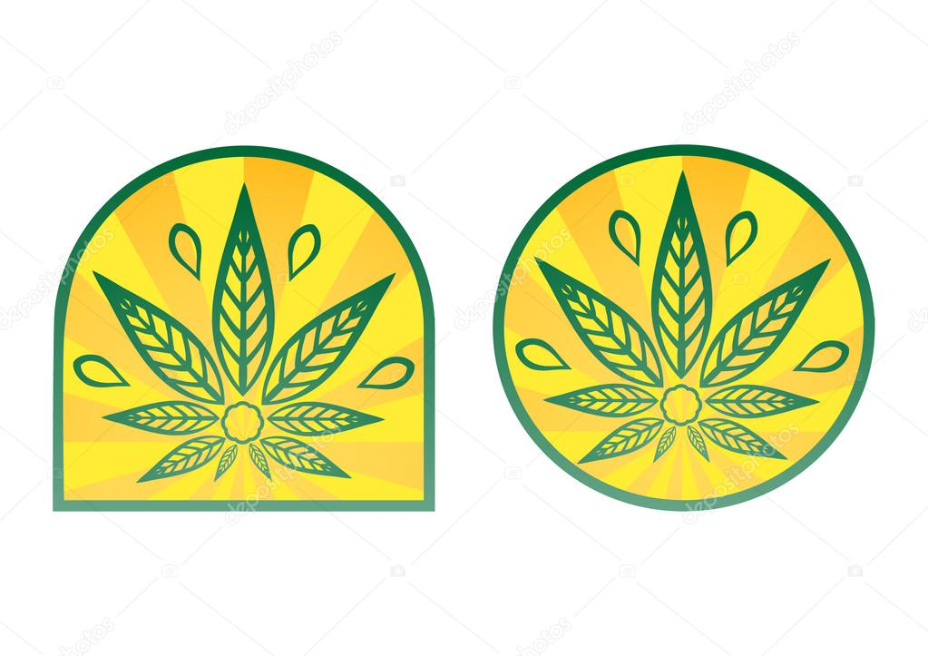 Cannabis logo. Hemp simple icons on yellow radial background.