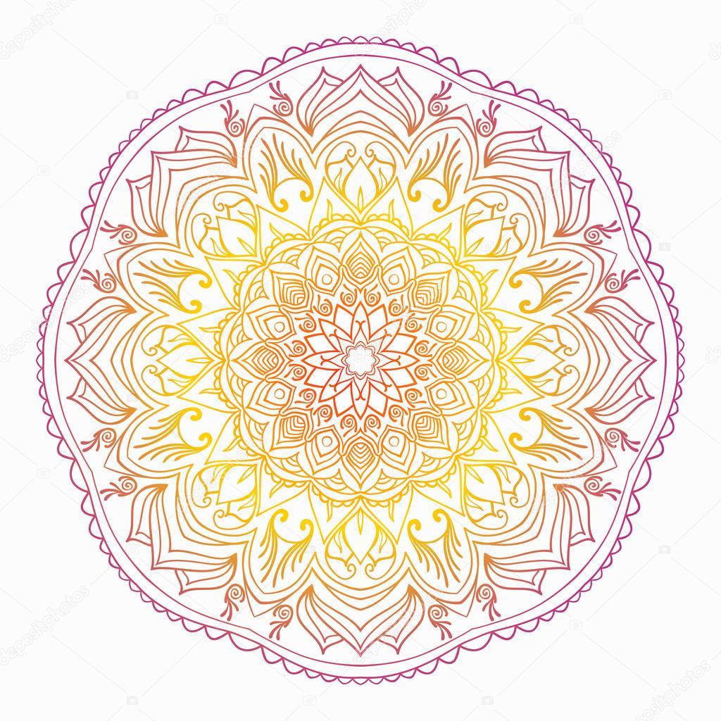Mandala Naranja Y Amarillo Mandala De Los Elementos Indios - Mandalas-indios