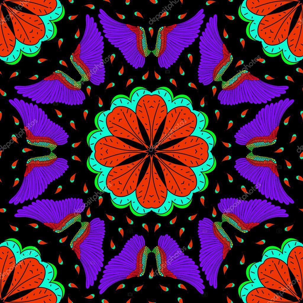 Phoenix Neon seamless pattern