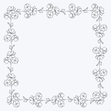 Black and white flowers square motif, photo frame.