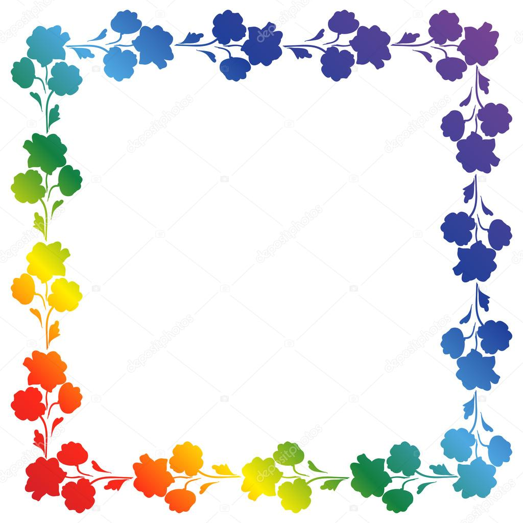 Adorno cuadrado arco iris de flores, marco de fotos — Vector de ...
