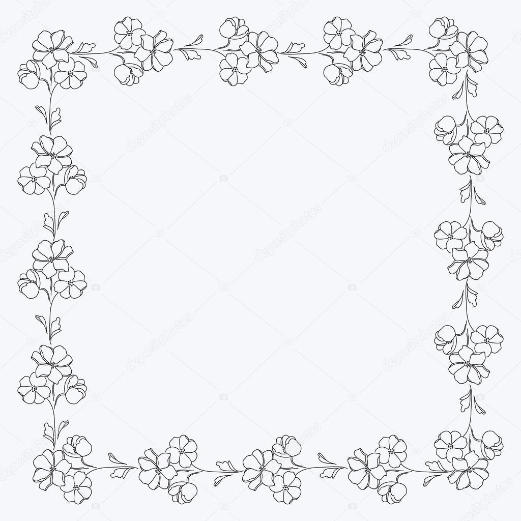 Motivo de cuadrados blanco y negro flores, marco de fotos — Vector ...
