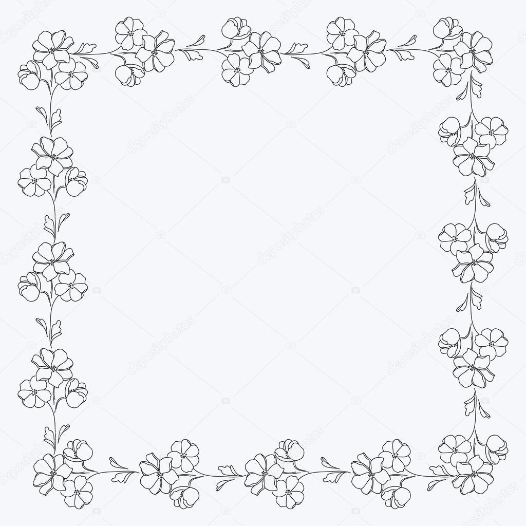 Schwarz / weiß Blumen Quadrat Motiv, Fotorahmen — Stockvektor ...