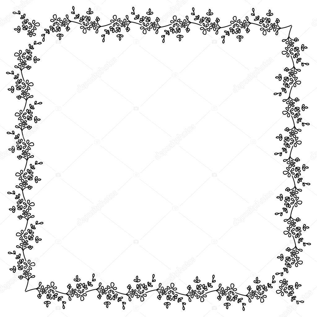 Flores pequeñas blanco y negro cuadrado Adorno, marco de fotos ...