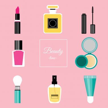 Set of vector make up tools.Vector illustration with nail polish