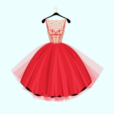 Red Party dress. Red vintage style party dress with flowers decoration.Vector illustration. Fashion couture dress