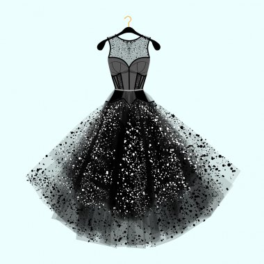 Beautiful party dress. Black dress with  rhinestones. Fashion illustration
