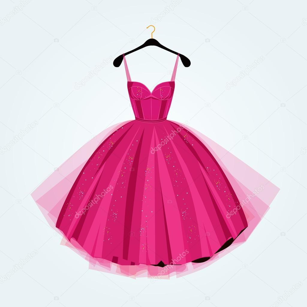 Vestido de fiesta rosa. Vestido de fiesta. Ilustración de vector ...