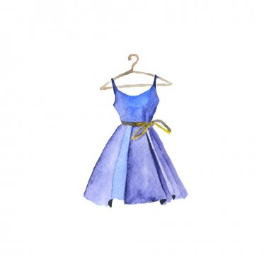 Watercolor painted dress. Vector illustration