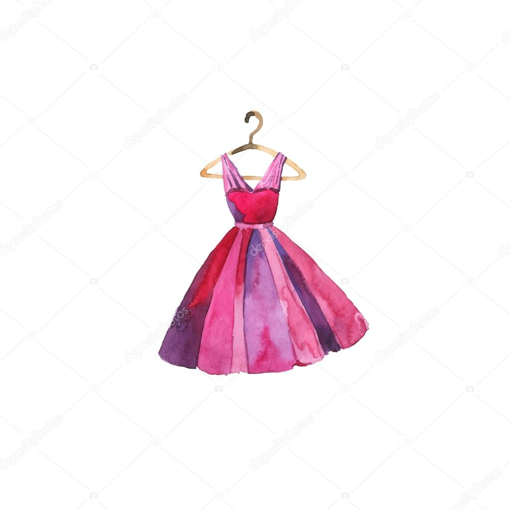 Vector watercolor pink dress