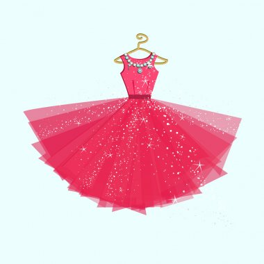 Party pink dress.Vector illustration