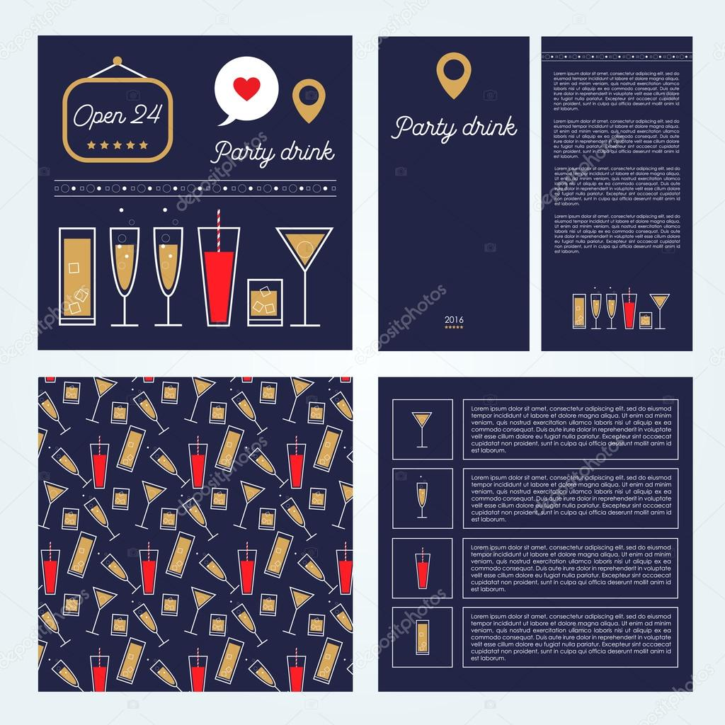 set of vector menu designs drinks and cocktails party bar