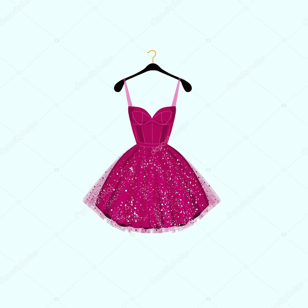 Vestido de fiesta de lujo. Ilustración de vector — Archivo Imágenes ...