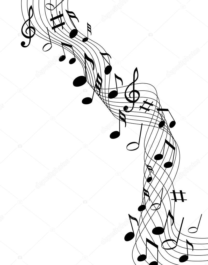 Note musicali su uno sfondo bianco solide vettoriali - Note musicali da colorare pagina da colorare ...