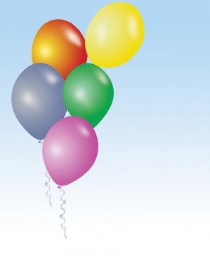 Five colorful birthday or party ballons