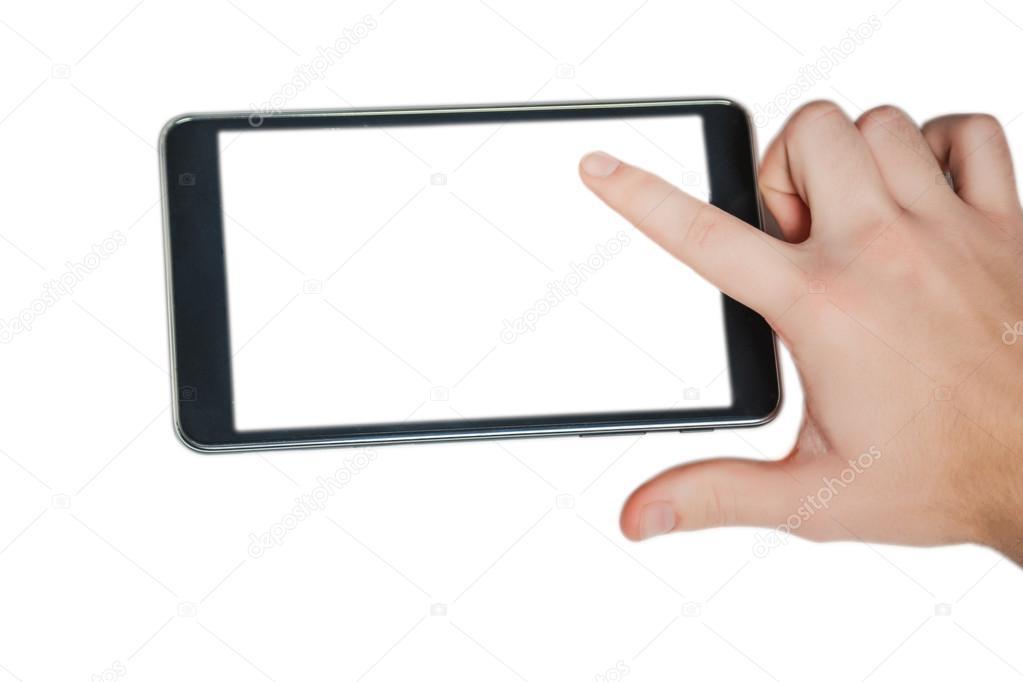 la tableta sobre un fondo blanco, ventas en línea, ideas de negocio ...